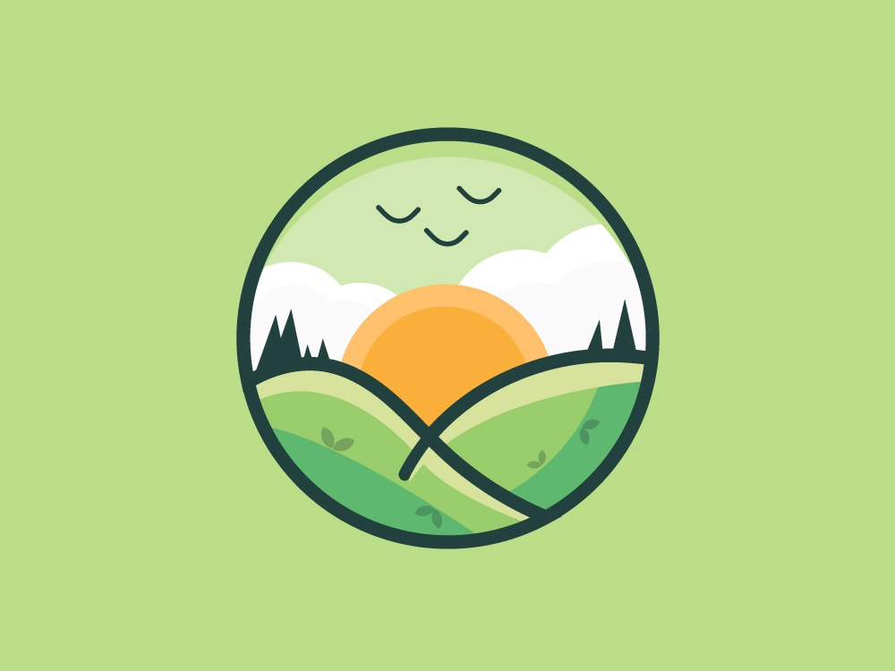 Landscape Icon sunset landscape cartoon green branding newglue creative illustrator vector graphic logo illustration icon logo mark design