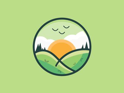 Landscape Icon sunset landscape cartoon green branding newglue creative illustrator vector graphic logo illustration icon logo mark design