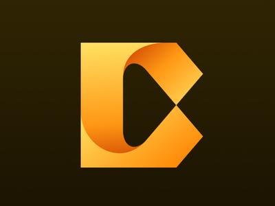 Curled C Icon letter yellow typography branding newglue creative illustrator vector graphic logo illustration icon logo mark design