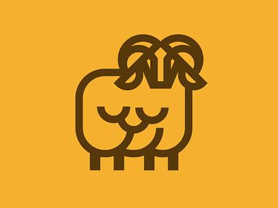 Sheep Icon ram sheep yellow animal branding newglue creative illustrator vector graphic logo illustration icon logo mark design