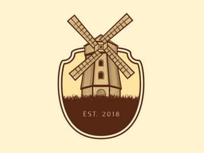 Windmill Icon badge shield windmill brown yellow branding newglue creative illustrator vector graphic logo illustration icon logo mark design