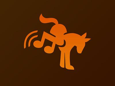 Music Horse Icon music donkey horse orange animal branding newglue creative illustrator vector graphic logo illustration icon logo mark design