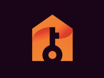 Key and House Icon key house orange branding newglue creative illustrator vector graphic logo illustration icon logo mark design