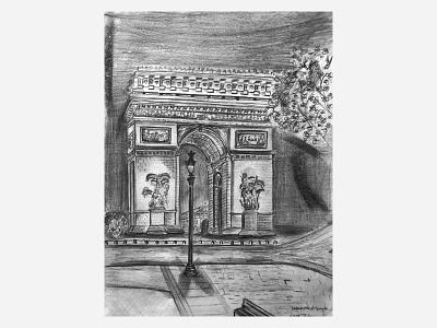 Paris  Arc de triomphe - pencil sketch on paper sketchbook france arc de triomphe architecture paris pencil sketch pencil sketch