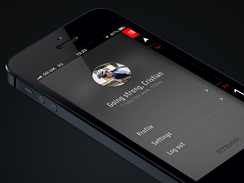 Profile screen ui app cycling ios iphone monitor sport
