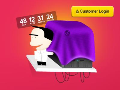 WordPress Hosting illustration hosting server character launching soon pink purple