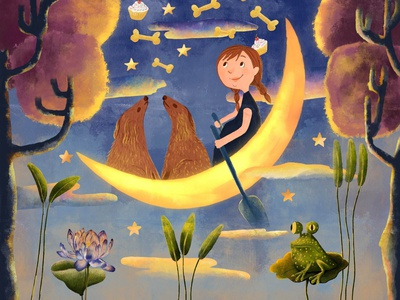 DreamLand sky flower frog texture boat sail dogs trees painting moon digital illustration drawing illustration