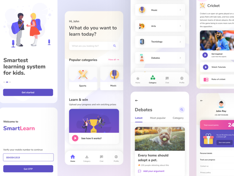 Smart learning application for school going kids topics category debates profile uiux education ui e learning kids smart learning smart learning