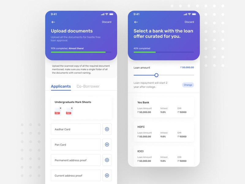 Upload documents and bank selection screen uidesign finance loan app fintech upload documents upload education app bank app uiux ui