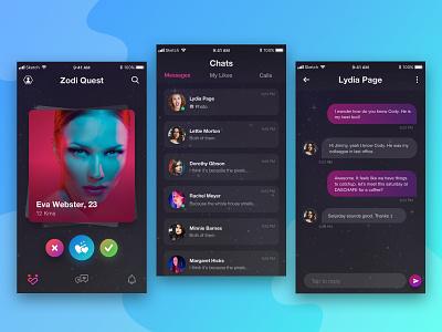 Dating application listing messages like swipe tinder chat darktheme uixu ux ui dating dark