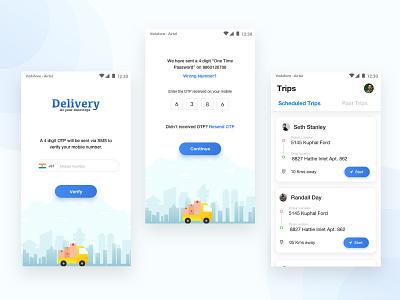 Delivery App logistics truck blue ui  ux trips otp navigation dailyui drivers deliverable
