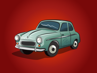 Retro car fso warszawa bug beetle trabant socialism retro old car illustration