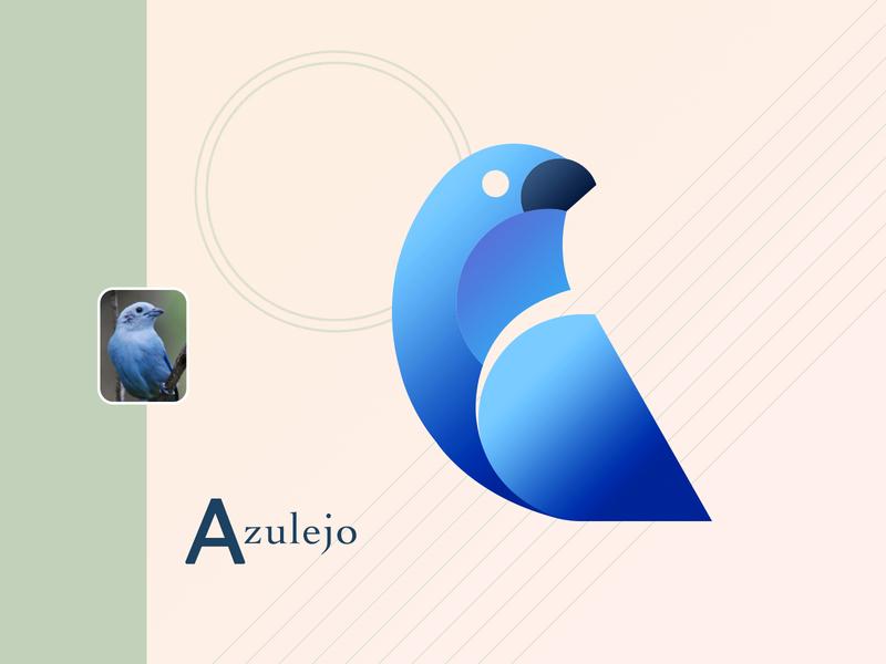 Azulejo nature logo isotype blue bird