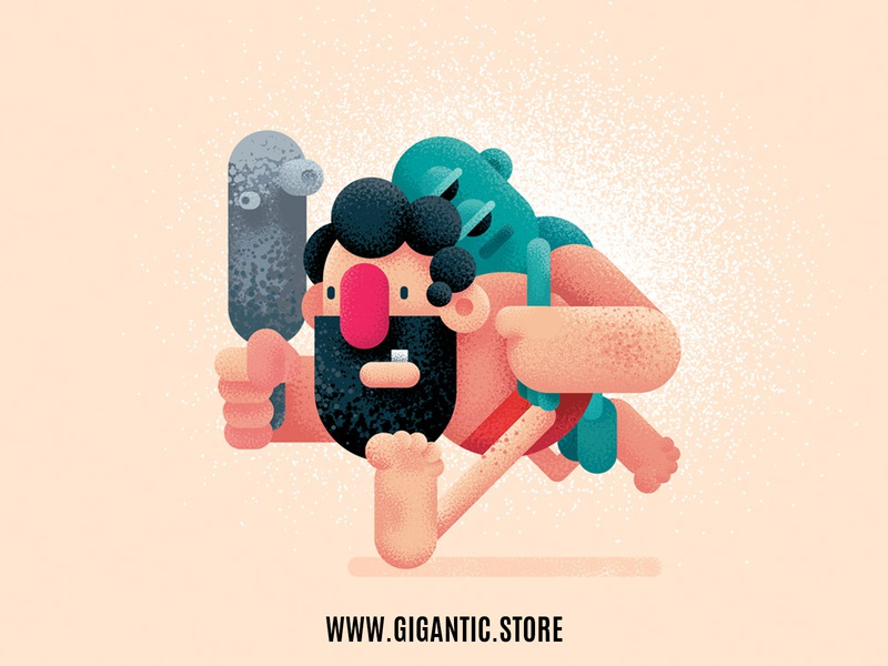 Flat Design Character Illustrations and Grainy Texture texture pattern texture pack textured textures texture illustration texture brushes texture brush cartoon flat character flat design illustraion illustrator effects effect gradient grain texture grainy gain texture
