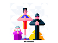 Flat design characters  in the pose of prayer
