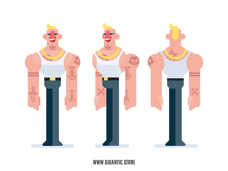 Flat Design 3 Sides Characters, Bodybuilder With Tattoos motiongraphics motion design animation characters vector art person game design cartoon character design design illustration character flat design