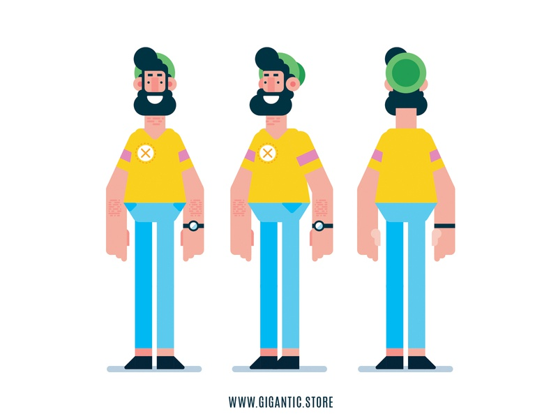 Flat Design 3 Sides Man Character Illustration man drawing character design vector flat cartoon design illustration character flat design