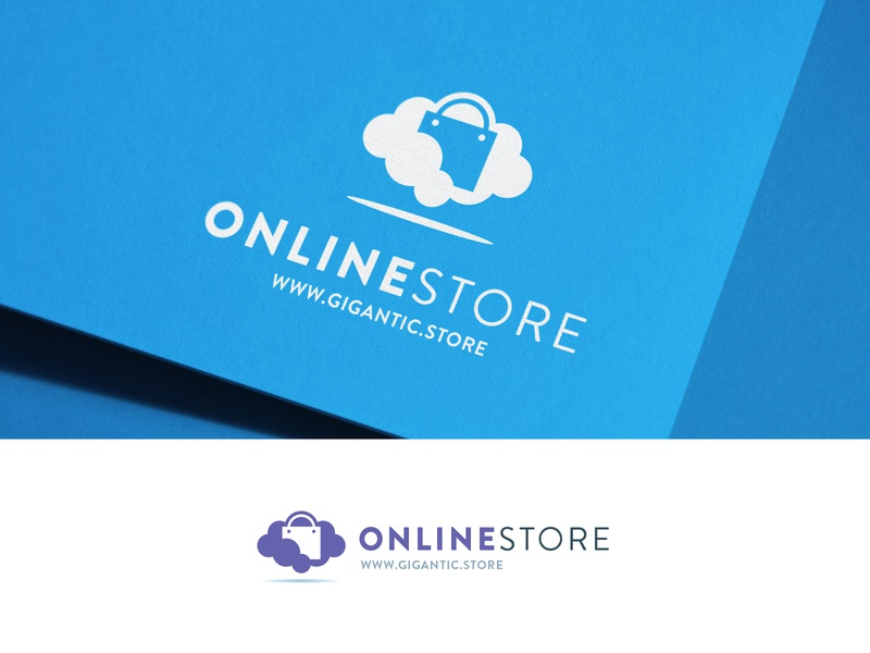 Logo Design Template for Online Store, Shopping Bag and Cloud logo a day mark sign graphic design branding design brand identity brand designer brand design branding brand designer logo designer logo mark logodesign logo design logotype logos logo