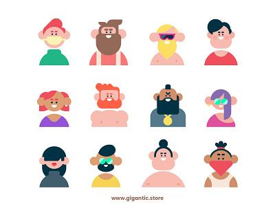 Flat Design Avatar Portraits, Digital Art Characters illustrator person flat design illustration characterdesign character character design man cartoon vector art vectors vector avatar icons avatars avatar design avatardesign avatar