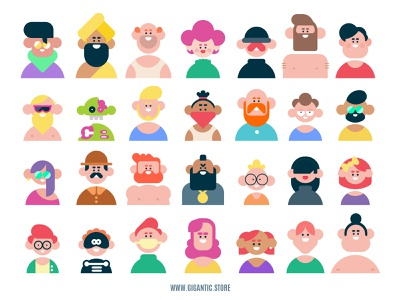 Flat Design Avatar Portraits, Digital Art Characters illustrations avatar design avatardesign avatar icons avatars avatar cartoon vector art flat illustration character design character illustration art flat design person illustraion illustrator