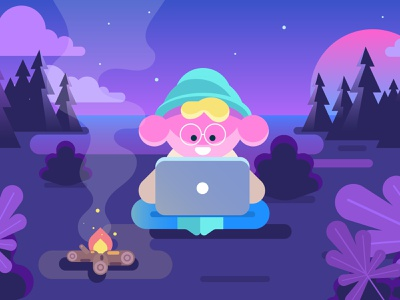 Relaxed character in the forest. Flat design character. campaign campfire camping night fire lofiart lofi chill woods forest man drawing character design vector flat cartoon design illustration character flat design
