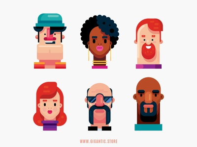 Flat Design Avatar Portraits, Digital Art Characters avatardesign avatar design people characters avatar icons avatars avatar vector art flat vector drawing character design cartoon design illustration character flat design