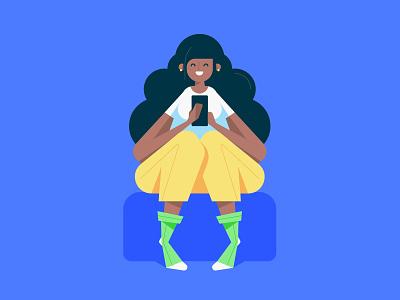 Flat Girl Illustration Holding the Phone, Cartoon Design avatar mark rise drawing image hero ux ui creative cartoon teenage holding phone sitting people black girl design art character flat