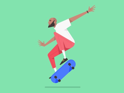 Flat Design Character With Skateboard Illustration, Vector Art vector drawing pose cartoon mark rise hero web ux ui image people avatar skateboard flat creative art design illustraion illustrator character