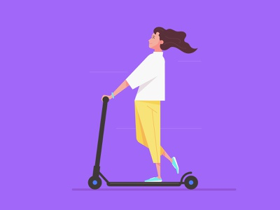 Flat Art Girl Character Rides an Electric Scooter Illustration people web ux ui hero avatar woman girl scooter illustrator mark rise art design flat vector image creative drawing illustration character