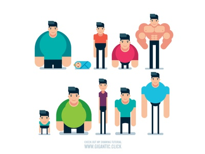 10 Flat Bodies vector anatomy man male character poses bodies design flat body