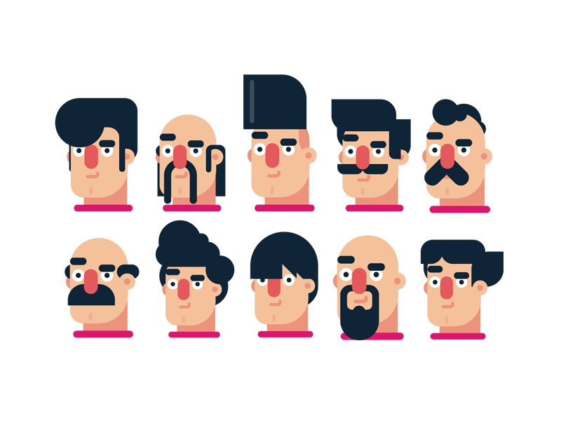 Flat Design Character Download : Flat design character hairstyles by gigantic dribbble