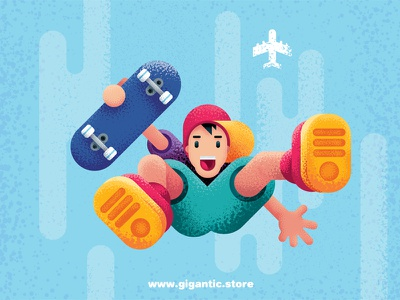 Flat Design Character with Gigantic Brushes urban texture people noise illustration grain flat design characters character