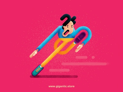 Run Man Run :D Art with Gigantic Brushes man running texture people noise illustration grain flat design characters character