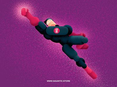 Combination with Gigantic Flat Style and Brushes illustration draw cartoon gigantic superhero man character flat design