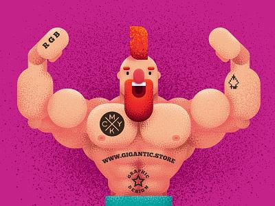 Strong Character Design strong art flat muscular gigantic brushes cartoon man design character