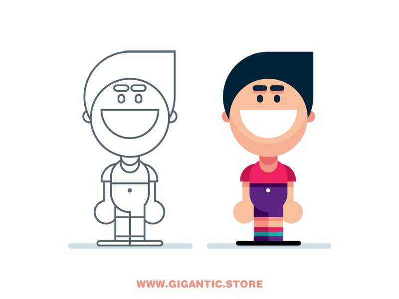 Simple Flat Design CARTOON PERSON male illustration flat design boy kid man character person
