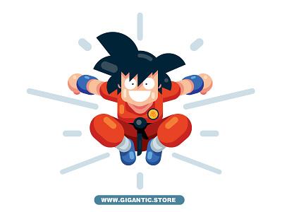 Flat Design KID GOKU From Dragon Ball Z character artwork drawing illustration dragon ball kid goku flat design