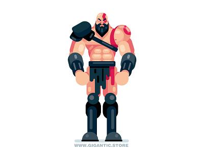 Kratos from God of War game design game character flat design warriors warrior superhero kratos