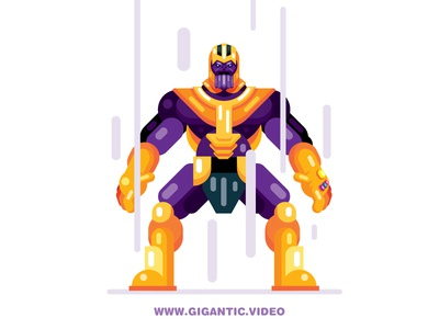 Flat Design Thanos from Fortnite and Infinity War gigantic flat design fortnite character game design war thanos