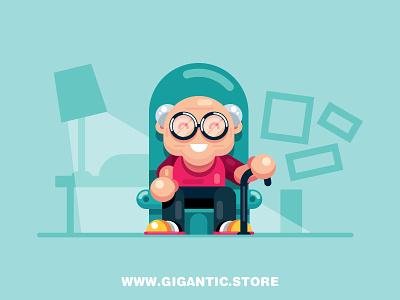 Flat Design Cartoon Grandpa animation game design room flat design grandfather grandpa characters character cartoon