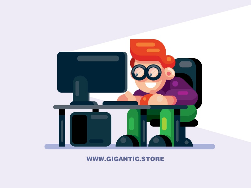 Flat Design Character Man On The Desktop Computer By Gigantic