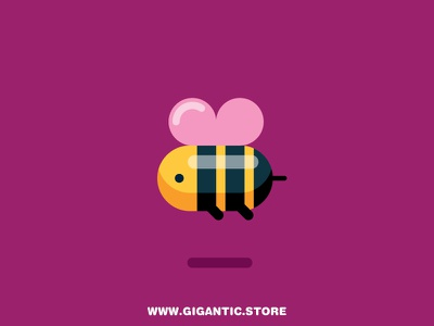 Flat Design Bee flying logo design fly insects insect animals animal bee flat design