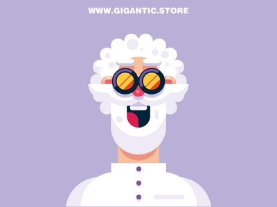 Flat Design Scientist Character grandfather grandpa man old person character flat design scientist