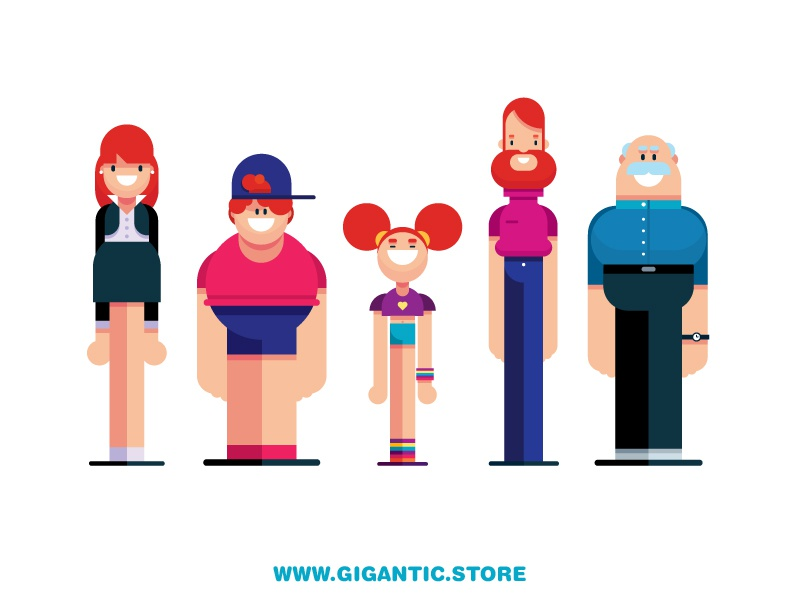 Flat Design Characters female male simple family animation flat design people person characters character
