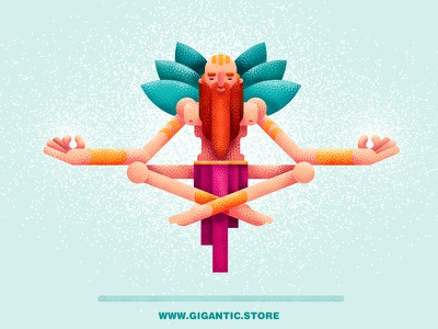 Character Design in Meditation meditation shapes geometric forms character design grain texture noise brushes
