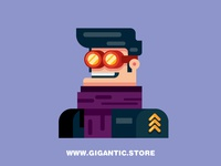Flat Design Character with Geometric Forms
