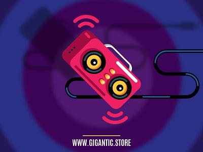 Flat Design Music Radio Illustration draw drawing illustration flat design sound party play music fm radio