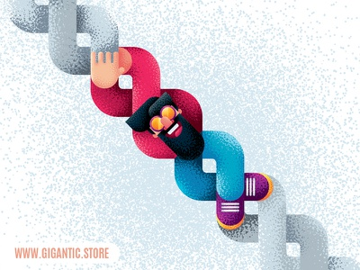Flat Design Character Illustration and Noise Brushes illustration grain organic texture noise brushes brush comic cartoon man person character