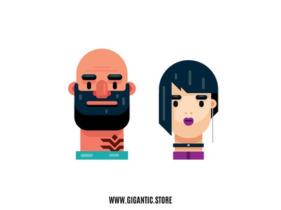 Flat Design Portraits, Man and Woman Illustration graphic  design illustration challenge illustration design illustration agency illustration art illustration flat design digital illustrations digital illustration digital 2d character designs character designer character design character animation character creation character concept character art character artist art