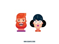 Flat Design Characters, Man and Woman Illustration